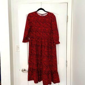 SHEIN red leopard maxi dress, size Medium